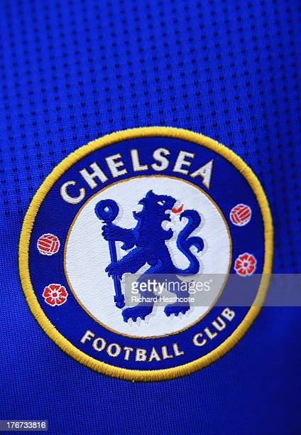 A close up view of the Chelsea badge prior to the Barclays Premier League match between Chelsea and Hull City at Stamford Bridge on August 18 2013 in...