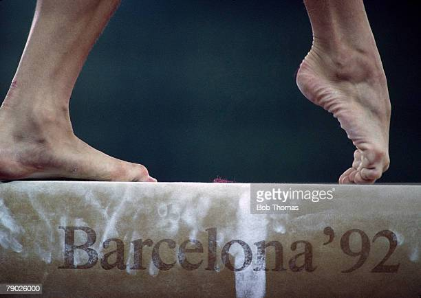 Close up view of the feet of a female gymnast competing in the Women's balance beam event one of the artistic gymnastics events at the 1992 Summer...