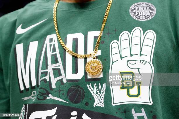 Close up view of the Final Four shirt and necklace worn by MaCio Teague of the Baylor Bears in the Elite Eight round of the 2021 NCAA Men's...