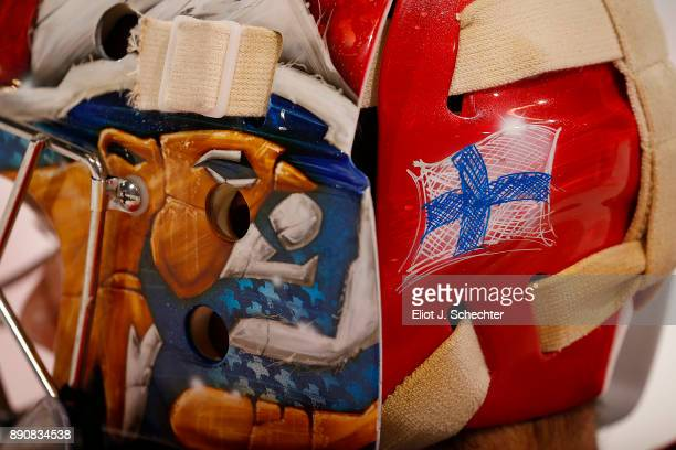 A close up view of the flag of Finland on Goaltender Harri Sateri of the Florida Panthers helmet prior to the start of the game against the Colorado...