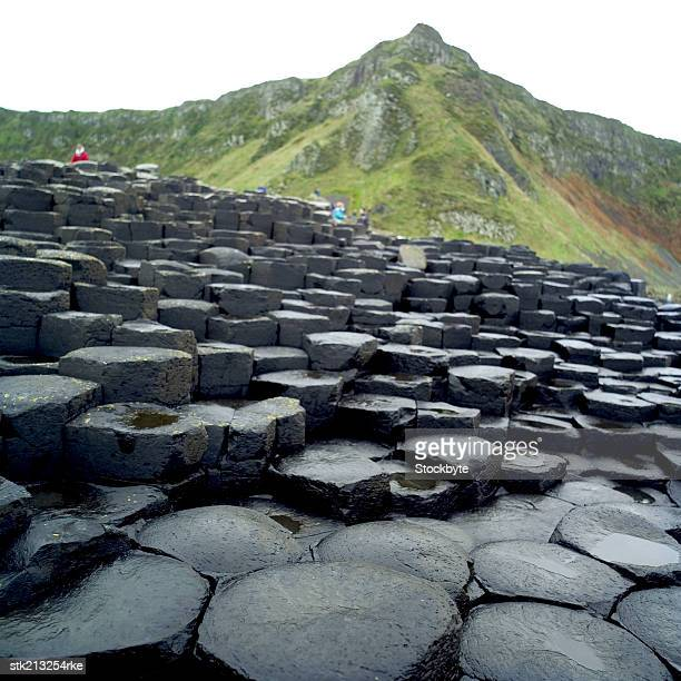 close up view of the giants causeway, county antrim - county antrim stock pictures, royalty-free photos & images