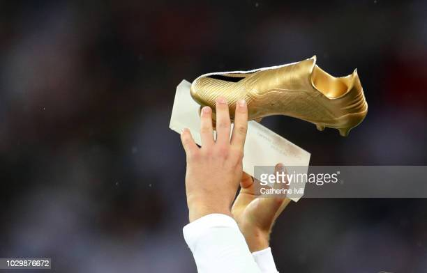 Close up view of the Golden boot award given to Harry Kane of England before the UEFA Nations League A group four match between England and Spain at...