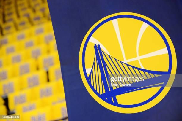 A close up view of the Golden State Warriors logo before the game against the San Antonio Spurs during Game Two of the Western Conference Finals of...