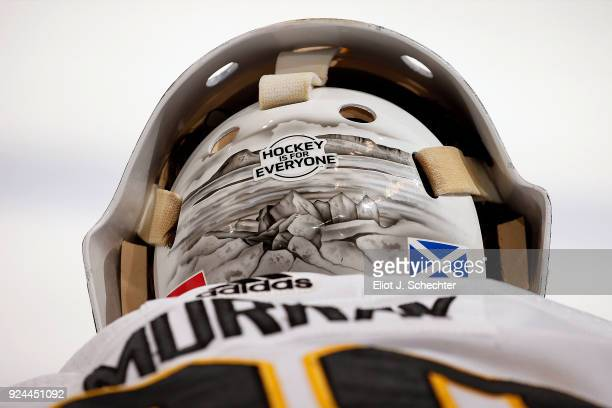 A close up view of the helmet belonging to Goaltender Matthew Murray of the Pittsburg Penguins A Hockey is for everyone sticker is in view prior to...