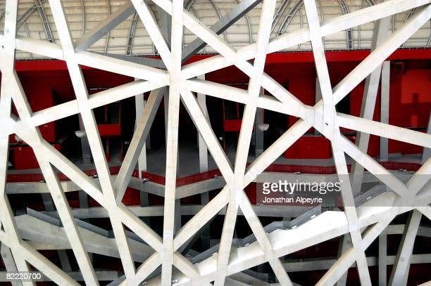 A close up view of the infrastructure of the Bird's nest on March 11 2008 in Beijing China