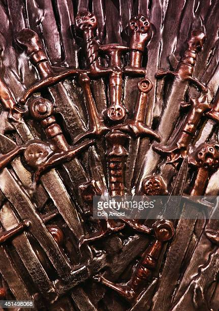 A close up view of the Iron Throne made from the swords of the slaughtered kings is seen at the launch of the Game Of Thrones Exhibition at Museum of...