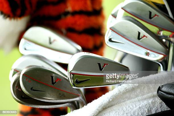 A close up view of the irons of Tiger Woods of the USA during the final round of the Quail Hollow Championship at Quail Hollow Golf Club on May 3...