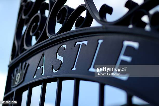 A close up view of the Jeff Astle gates prior to the Premier League match between West Bromwich Albion and Tottenham Hotspur at The Hawthorns on...