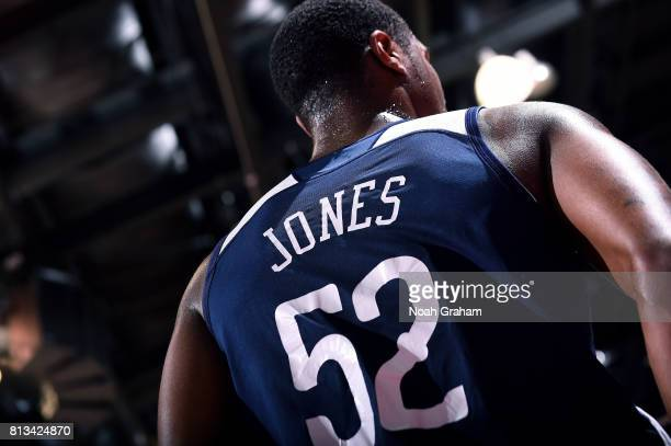 A close up view of the jersey of Jalen Jones of the New Orleans Pelicans during the game against the Atlanta Hawks during the 2017 Las Vegas Summer...
