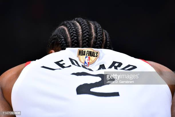 A close up view of the jersey of Kawhi Leonard of the Toronto Raptors during Game One of the NBA Finals on May 30 2019 at Scotiabank Arena in Toronto...