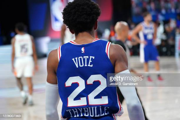 Close up view of the jersey of Matisse Thybulle of the Philadelphia 76ers during game against the Phoenix Suns on August 11, 2020 at Visa Athletic...
