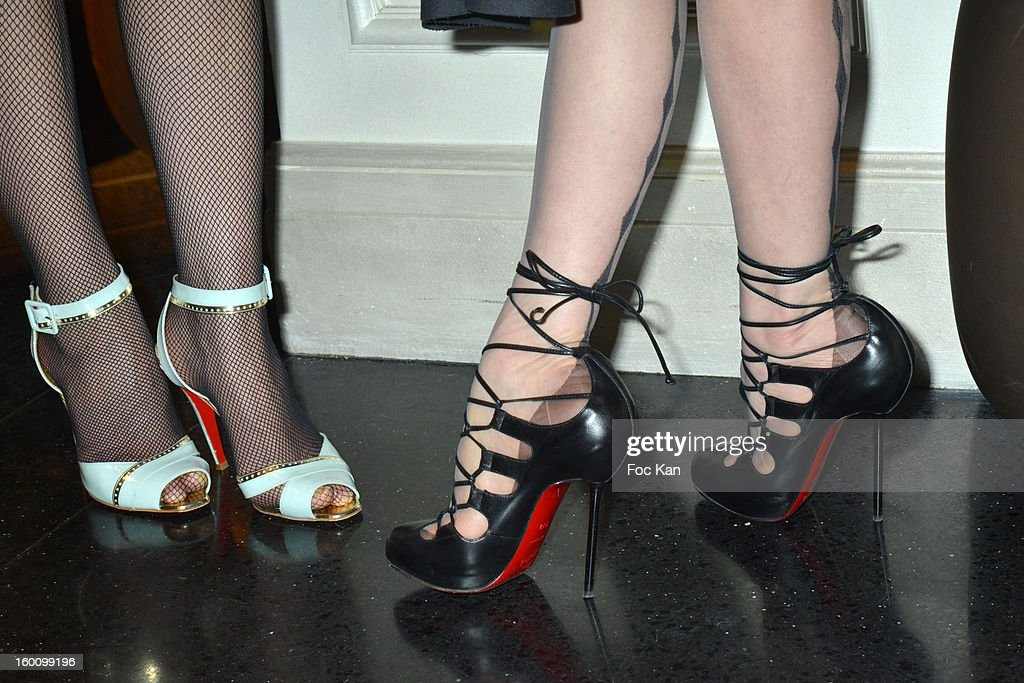 Close up view of the Louboutin shoes worn by Suzanne Von Aichiger and Dita von Teese (R) during the 'Body Double' Ali Mahdavi Exhibition Preview Cocktail At Hotel W on January 25, 2013 in Paris, France.