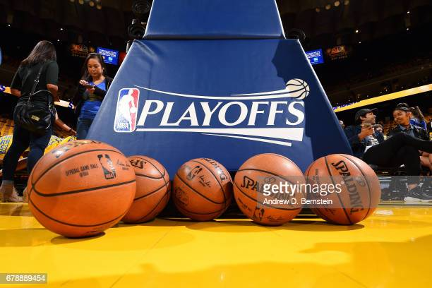 Close up view of the NBA Playoffs logo before the game between the Golden State Warriors and the Utah Jazz during Game Two of the Western Conference...