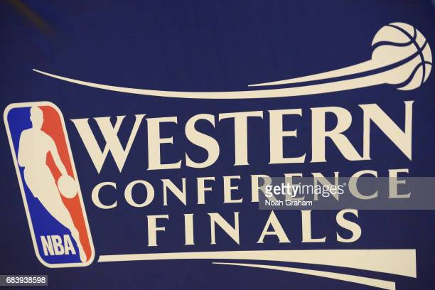 A close up view of the NBA Western Conference Finals logo before the game between the Golden State Warriors and the San Antonio Spurs during Game Two...