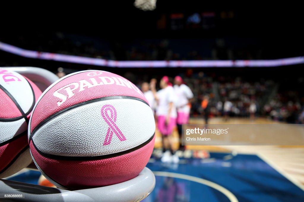 A close up view of the offical WNBA Spalding ball before the game between the Connecticut Sun and the Phoenix Mercury on August 20, 2017 at Mohegan Sun Arena in Uncasville, CT.