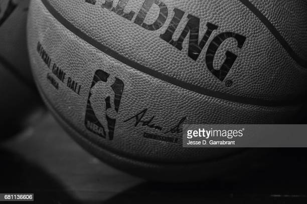 A close up view of the official NBA Adam Silver Spalding ball before the game between the San Antonio Spurs and the Houston Rockets during Game Five...