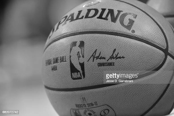 A close up view of the official NBA Adam Silver Spalding ball before the game between the Houston Rockets and the San Antonio Spurs during Game Six...