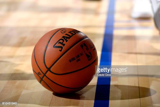 A close up view of the official NBA Adam Silver Spalding ball during the game between the New Orleans Pelicans and the Toronto Raptors during the...