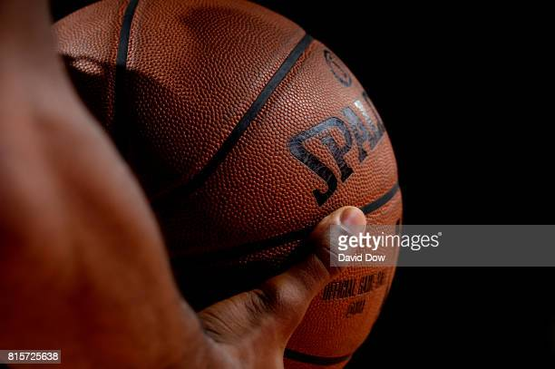 A close up view of the official NBA Adam Silver Spalding ball during the game between the Portland Trail Blazers and the Memphis Grizzlies during the...