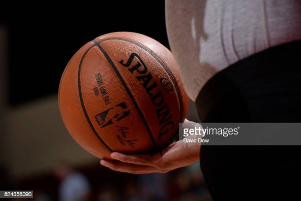 A close up view of the official NBA Adam Silver Spalding ball during the game between the New Orleans Pelicans and the Atlanta Hawks on July 9 2017...