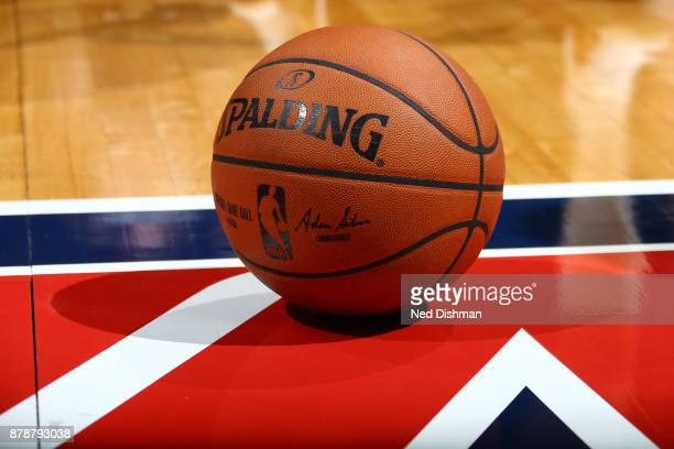 A close up view of the official NBA Adam Silver Spalding ball during the game between the Washington Wizards and the Cleveland Cavaliers on November...