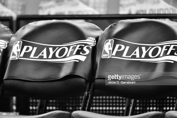 A close up view of the official NBA Playoff logo before the game between the San Antonio Spurs and the Houston Rockets during Game Five of the...