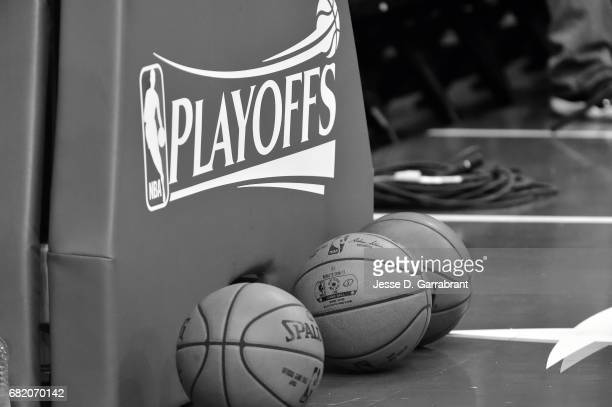 Close up view of the official NBA Playoffs and the official NBA Adam Silver Spalding ball before the game between the Houston Rockets and the San...