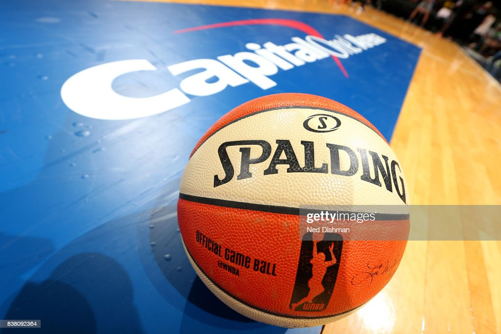 A close up view of the official WNBA Spalding game ball during the game between the Phoenix Mercury and the Washington Mystics on August 18, 2017 at the Verizon Center in Washington, DC.