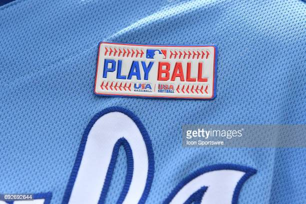 A close up view of the Play Ball patches worn by MLB players over the weekend during a MLB game between the Cleveland Indians and the Kansas City...