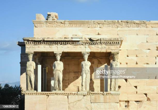 Close up view of the Porch of the Caryatids in The Erechtheion, Acropolis, Athens, Greece