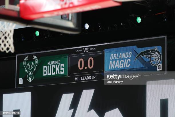 Close up view of the scoreboard before the game against the Milwaukee Bucks and the Orlando Magic during Round One, Game Five of the NBA Playoffs on...