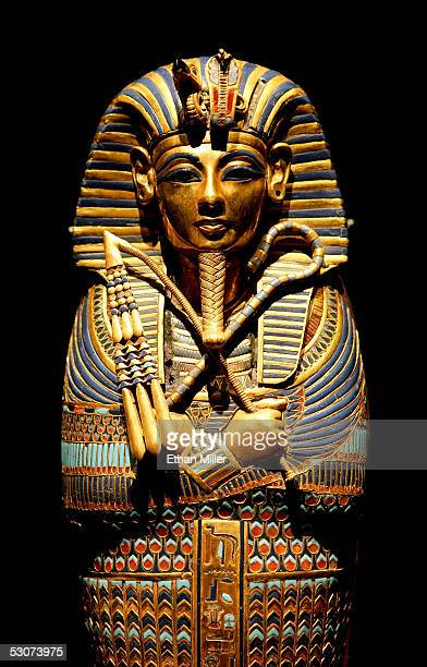 """Close up view of the Viscera Coffin of Tutankhamun is on display during the """"Tutankhamun And The Golden Age Of The Pharaohs"""" Exhibit Opening at LACMA..."""