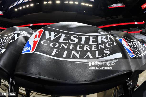 A close up view of the Western Conference Finals logo before the game between the San Antonio Spurs and the Golden State Warriors during Game Three...