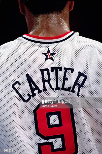 A close up view of Vince Carter#9 of the USA jersey before the Mens Basketball game against Russia on September 28 2000 during the Sydney 2000...