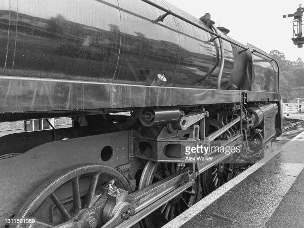 close up view of vintage steam train wheels. - 20th century style stock pictures, royalty-free photos & images