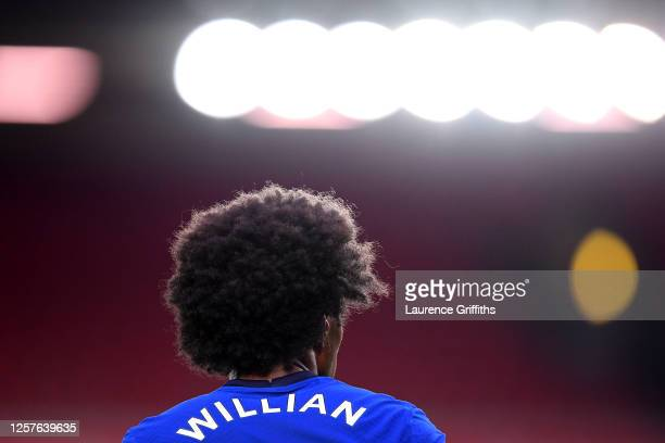 Close up view of Willian of Chelsea during the Premier League match between Liverpool FC and Chelsea FC at Anfield on July 22, 2020 in Liverpool,...