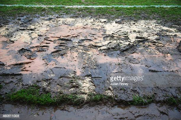 A close up view showing the muddy conditions pitchside prior to the Budweiser FA Cup third round match between Kidderminster Harriers and...