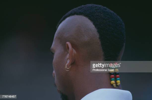 Close up virew of Bahamanian tennis player Roger Smith pictured in action during competition with his doubles partner Todd Nelson to lose to Rick...