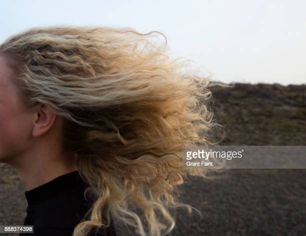 close up windy day and hair. - bleached hair stock pictures, royalty-free photos & images