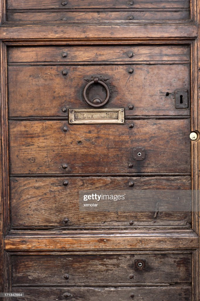 close view of an old door knocker and mail slot  Stock Photo & Close View Of An Old Door Knocker And Mail Slot Stock Photo ... pezcame.com