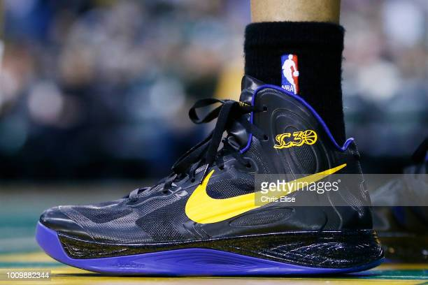 Close view of Golden State Warriors point guard Stephen Curry sneakers during the Boston Celtics 9486 victory over the Golden State Warriors at TD...