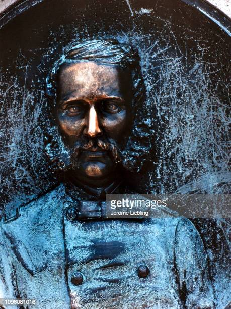 Close view of memorial monument to Union Army Colonel Patrick O'Rorke and the 140th New York Infantry depicting a head and shoulders portrait of the...