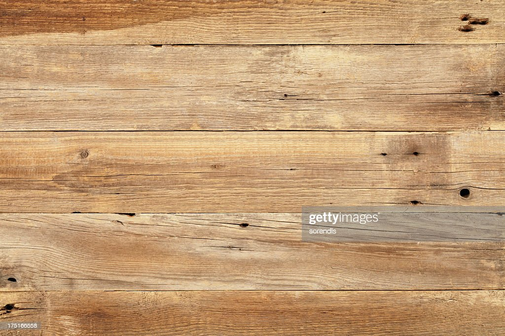 Close view of wooden plank table : Stock Photo