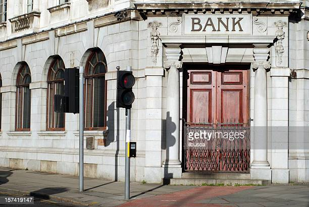closed bank door - business closing stock photos and pictures