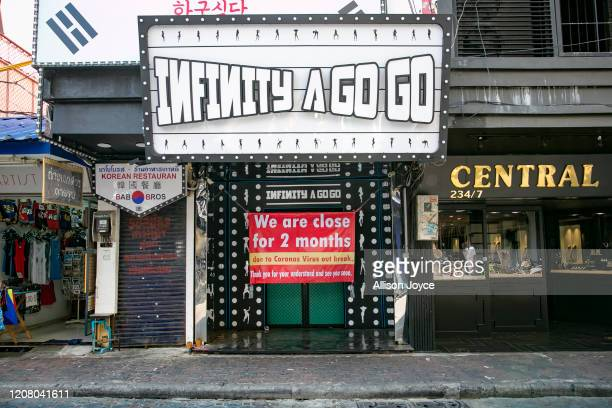 A closed bar is seen on March 23 2020 in Pattaya Thailand On March 18th Pattaya announced the closure of schools bars and entertainment venues for 2...