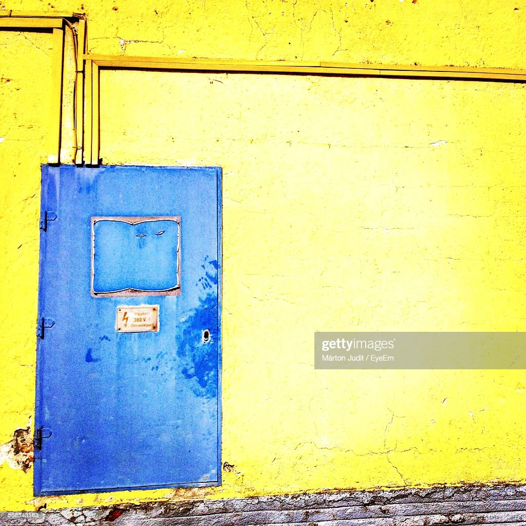 Closed Blue Door Of House : Stock Photo