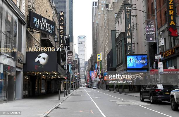 Closed broadway theaters during the coronavirus pandemic on April 08 2020 in New York City The Broadway League announced today that theaters will...