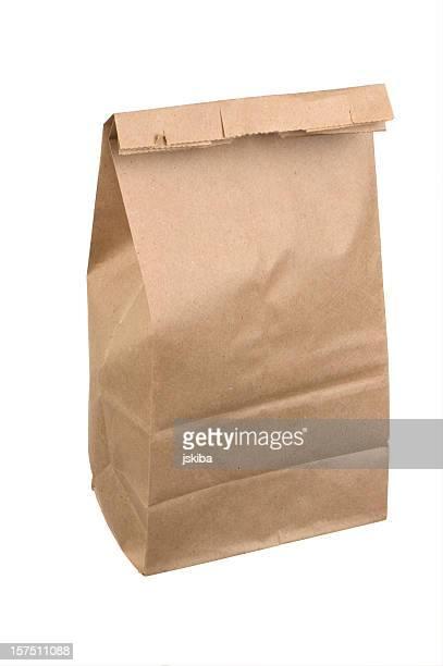 Fermé pour le déjeuner de sac de papier Brun sur fond blanc