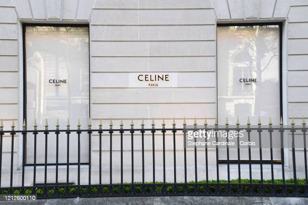 Closed Celine shop is seen at Avenue Montaigne as France faces the coronavirus pandemy on March 15, 2020 in Paris, France. French Prime Minister...