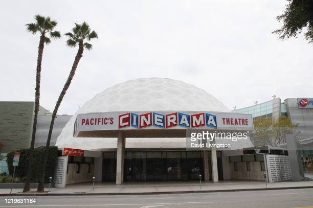 Closed Cinerama Dome theatre is seen during the coronavirus pandemic on April 18, 2020 in Los Angeles, California. COVID-19 has spread to most...